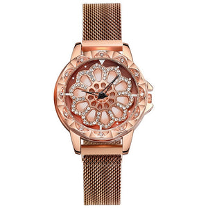 Lucky Rotating Women Watches Diamond Flower Dial Magnetic Quartz Wrist Watches Luxury Rose Gold Ladies Watch zegarek damski 2020
