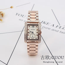 Load image into Gallery viewer, HK GUOU Brand Gold Steel Watch retro Fashion Square Diamond bracelet Ladies Quartz Luxury Woman Gift Wristwatches