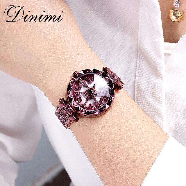Dimini Fashion Luxury Women Watches Diamond Lady Watch Quartz Wrist Watch Stainless Steel Gold Ladies Watches Dropshipping Gifts