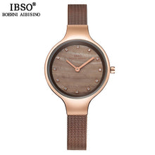 Load image into Gallery viewer, IBSO Brand Luxury Shell Dial Female Watches Fashion Stainless Steel Mesh Strap Wrist Watch Ladies Crystal Design Quartz Watch