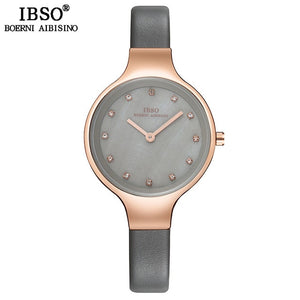 IBSO Brand Luxury Shell Dial Female Watches Fashion Stainless Steel Mesh Strap Wrist Watch Ladies Crystal Design Quartz Watch