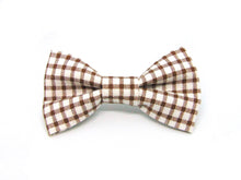 Load image into Gallery viewer, Brown Gingham Dog Bow Tie