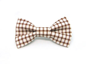 Brown Gingham Dog Bow Tie