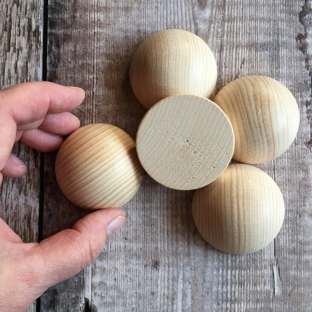 Hemisphere - solid wooden half round / half ball / split ball shape - 5 cm / 50 mm diameter