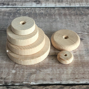 Wheel - wooden wheel 6 cm / 60 mm diameter - with flat edge / rim