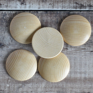 60mm wooden dome shapes - beech - underside