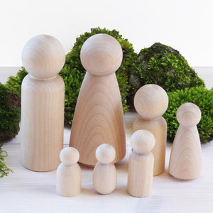 Family set with 9cm adult figures - man, woman, boy, girl, toddler, tot, baby