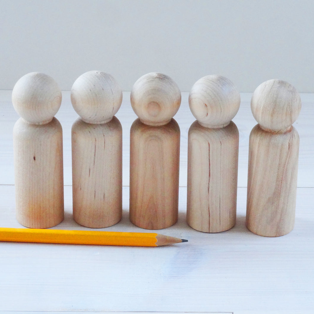 Birch - 9cm man peg doll - seconds - natural marks but smooth and EN71 cert