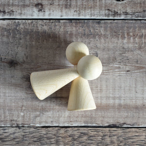 Cone angel figure - 10cm tall in solid beech