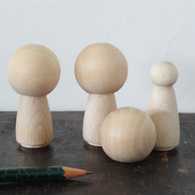 Load image into Gallery viewer, Kokeshi big head wooden peg doll girl figures