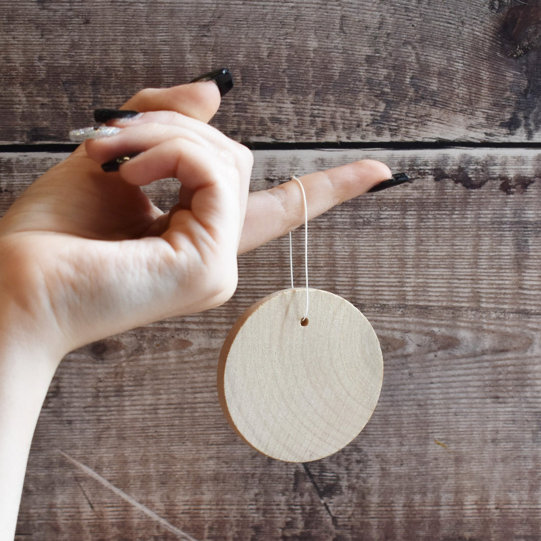 6cm diameter hanging wooden disc blank