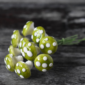 Ten glazed spun cotton mushrooms - 1.4 cm small green mushrooms on wire stem