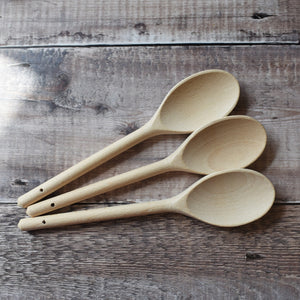 "Spoons - wooden mixing spoons 25cm / 10"" in solid beech"