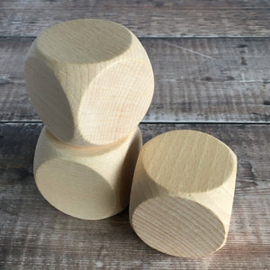 Wooden dice 6cm square in solid beech