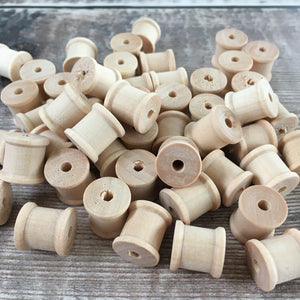 Bead - tiny wooden cotton reel / spool
