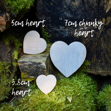 Load image into Gallery viewer, Heart  - chunky wooden heart shapes 7.5cm across