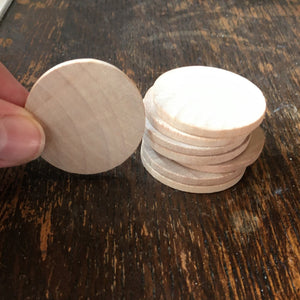 Disc - wooden circle / coin / counter - 3.8cm diameter