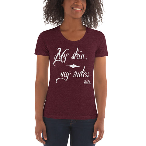 Women's Crew Neck T-shirt (My skin - my rules white) - Tattoo is Art - Apparel