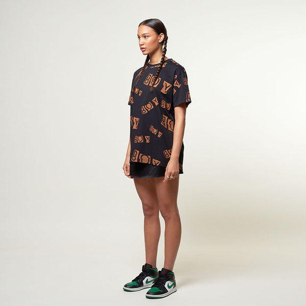 Boy Collage Repeat Tee - Black/Rust