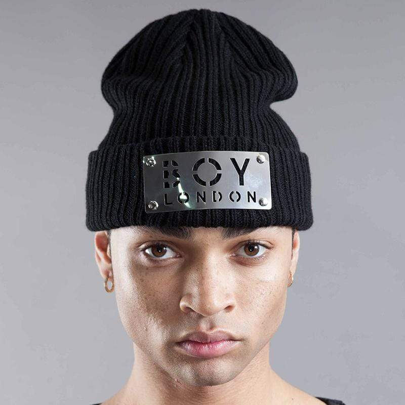BOY LONDON BEANIE ONE SIZE / BLACK BOY PANEL BEANIE HAT