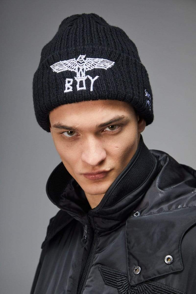 BOY LONDON BEANIE ONE SIZE BOY TAPE EAGLE BEANIE- Black/White