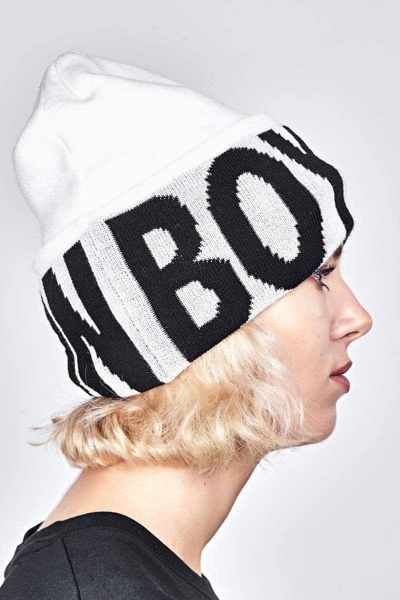 BOY LONDON BEANIE ONE SIZE / WHITE HIGH TOP BEANIE