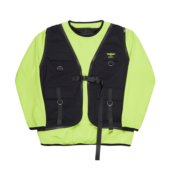 BOY LONDON JACKET BOY 3WAY SWEAT VEST - BLACK/NEON