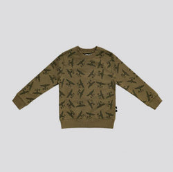 BOY LONDON KIDSWEAR 3-4 YEARS / KHAKI/BLACK BOY REPEAT KIDS SWEATSHIRT - KHAKI