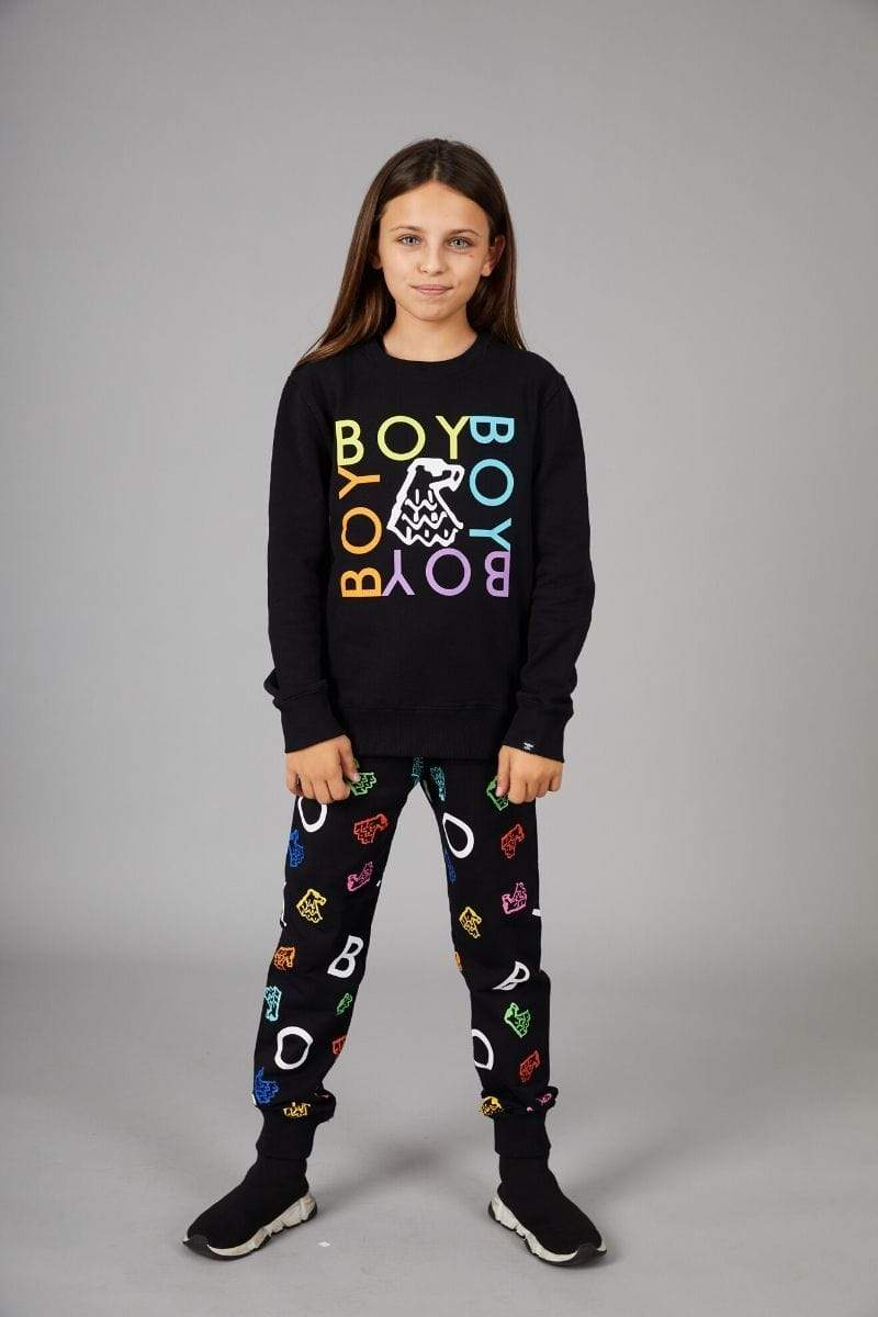 BOY LONDON KIDSWEAR BOY REPEAT QUADRUPLE KIDS SWEATSHIRT - BLACK