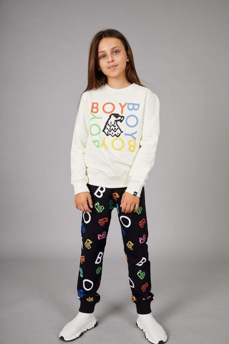 BOY LONDON KIDSWEAR BOY REPEAT QUADRUPLE KIDS SWEATSHIRT - OFF WHITE