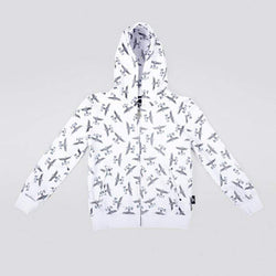 BOY LONDON KIDSWEAR 3-4 YEARS / WHITE/BLACK BOY REPEAT ZIP KIDS HOODIE - WHITE