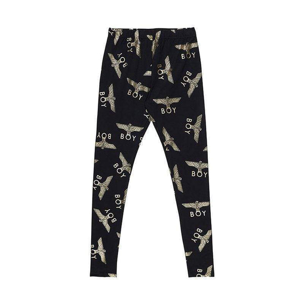 BOY LONDON Leggings S-M / BLACK/GOLD BOY REPEAT LEGGINGS