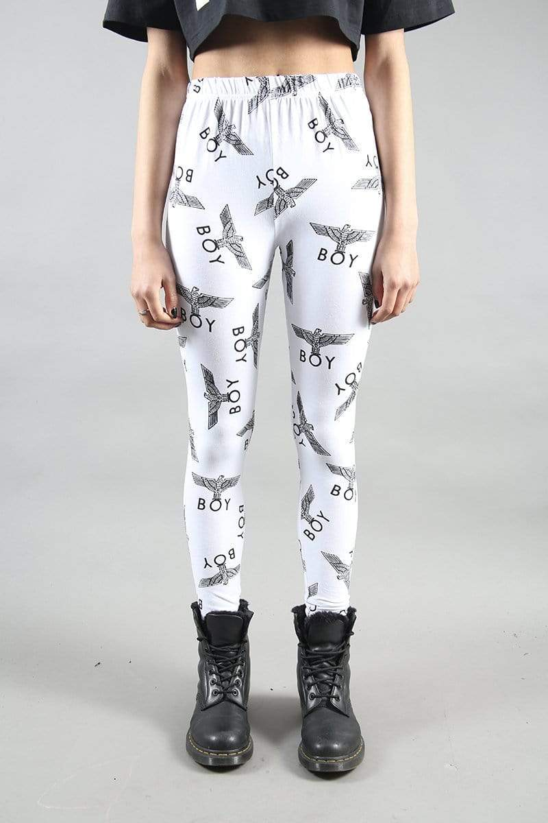 BOY LONDON Leggings S-M / WHITE/BLACK BOY REPEAT LEGGINGS
