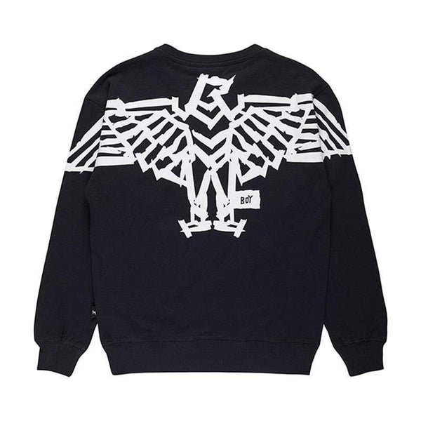 BOY LONDON SWEATSHIRT BOY BACKPRINT TAPE EAGLE  SWEATSHIRT - BLACK
