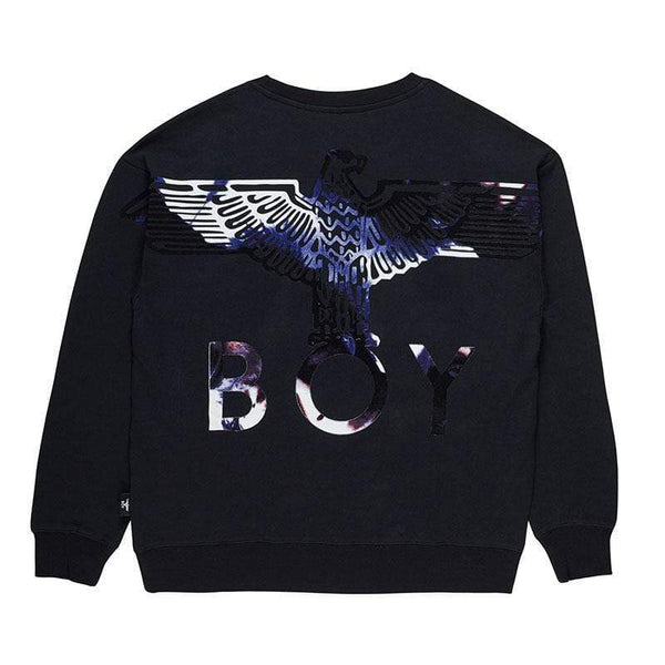 BOY LONDON SWEATSHIRT BOY EAGLE FLOCK SWEAT - BLACK