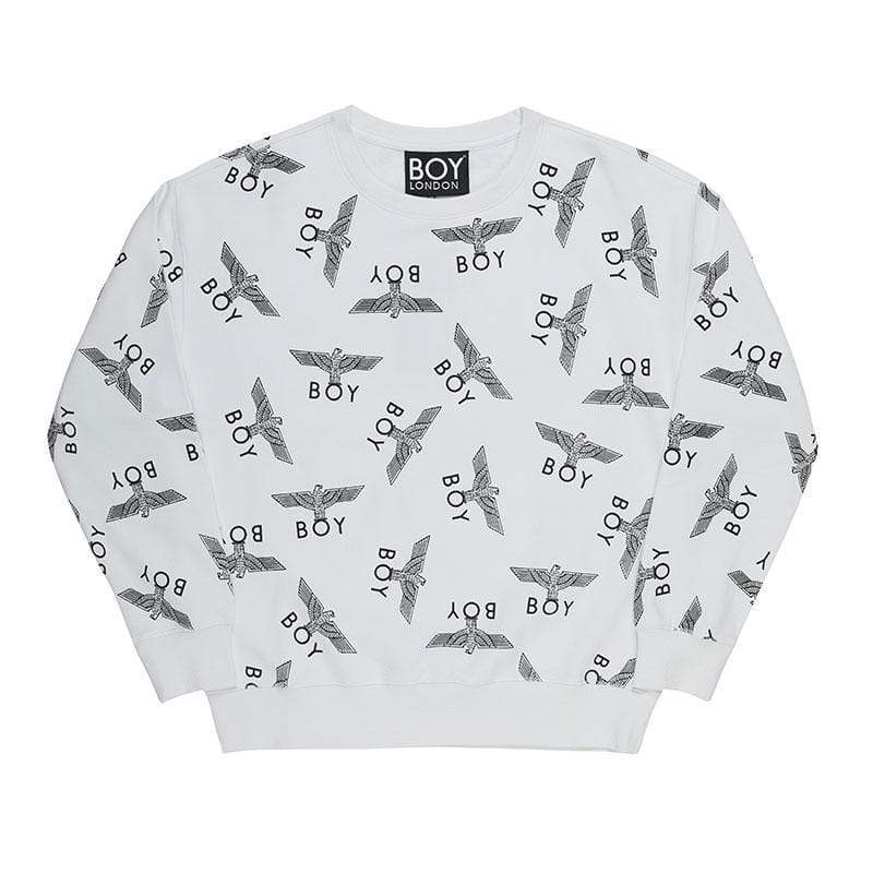 BOY LONDON SWEATSHIRT XS / WHITE/BLACK BOY REPEAT SWEATSHIRT