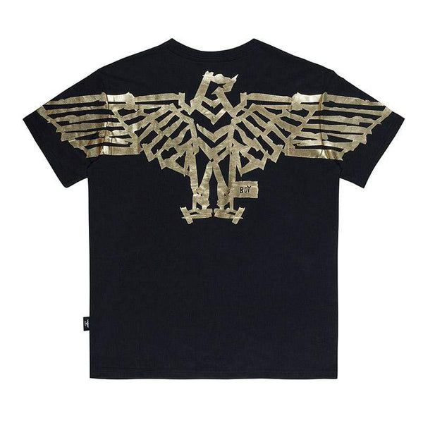 BOY LONDON T-SHIRT XS / BLACK/GOLD BOY TAPE EAGLE BACKPRINT TEE - BLACK