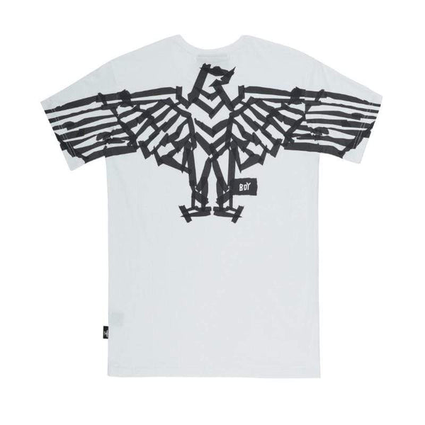 BOY LONDON T-SHIRT BOY TAPE EAGLE BACKPRINT TEE - WHITE