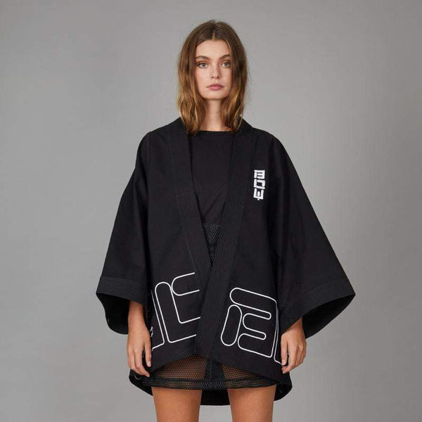 BOY London TOP XS BOY DRILL KIMONO TOP - BLACK