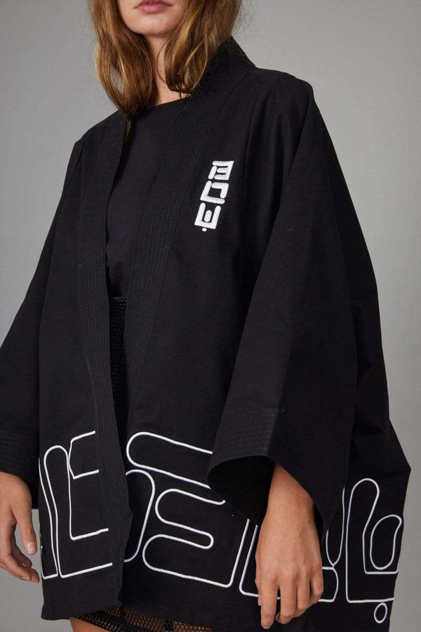 BOY London TOP BOY DRILL KIMONO TOP - BLACK