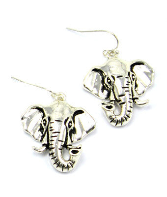 Silver Elephant Face Earrings