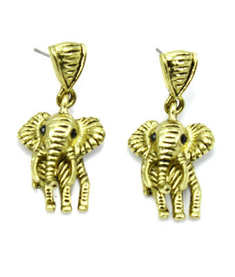 Gold Post Elephant Earrings