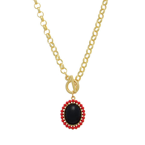 Black and Red Drop Pendant Necklace