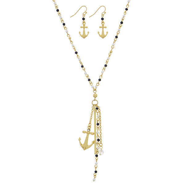 Navy Blue and Beads Anchor Necklace Set