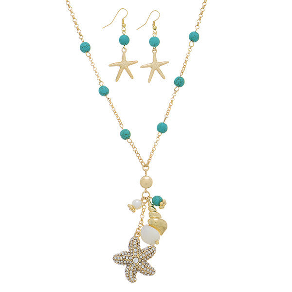 Gold Tone Starfish and Friends Necklace Set