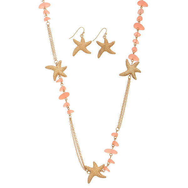 Coral and Starfish Necklace Set