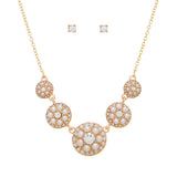 Pearl and Rhinestone Disk Necklace Set