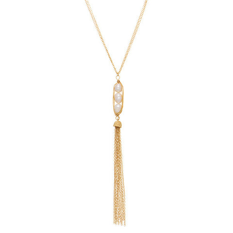 3 Pearl Wrapped Tassel Necklace Set