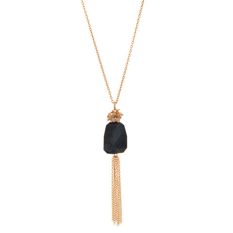 Black and Ivory Bead Tassel Necklace