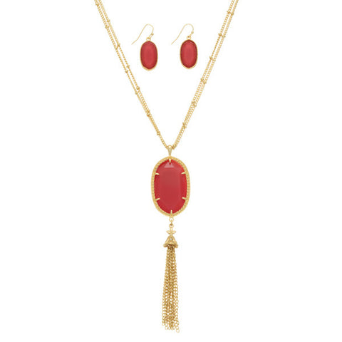 Red Double Strand Tassel Necklace Set
